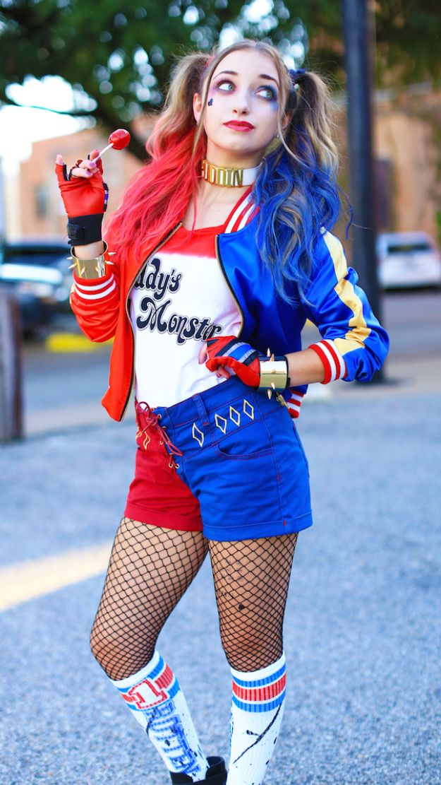Teen Costume Ideas - Harley Quinn Costume - Easy Costumes for Halloween - Cheap DIY Costumes for Teens - Scary, Spooky, Ideas for Couples, Groups and Friends - Quick Last Minute Hallloween Costumes, Best Celebrity Ideas - Dolls, Zombies, Ghosts, Makeup Tutorials Teenagers Dress Up Idea- http://diyprojectsforteens.com/diy-teen-costume-deas