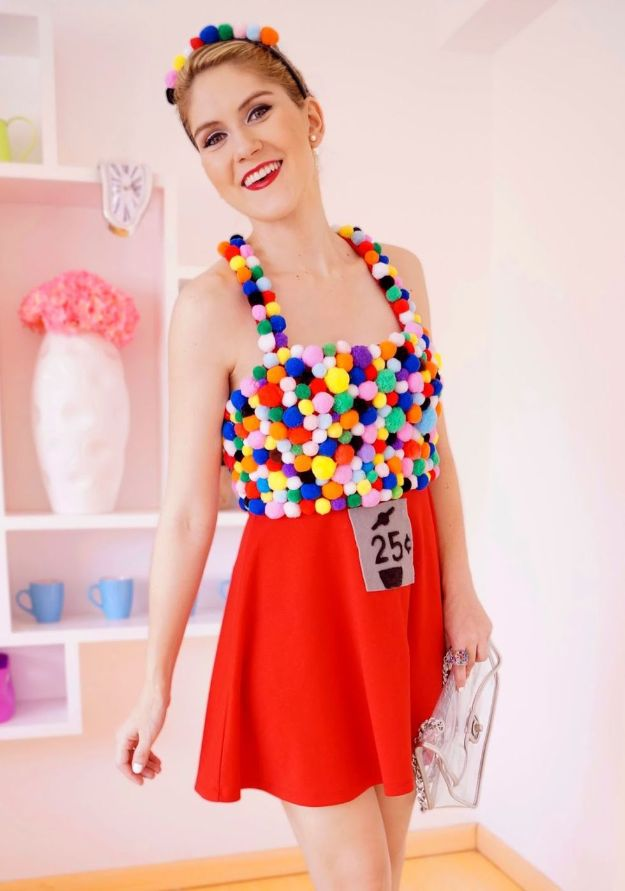 Teen Costume Ideas - Homemade Gumball Machine Costume - Easy Costumes for Halloween - Cheap DIY Costumes for Teens - Scary, Spooky, Ideas for Couples, Groups and Friends - Quick Last Minute Hallloween Costumes, Best Celebrity Ideas - Dolls, Zombies, Ghosts, Makeup Tutorials Teenagers Dress Up Idea-