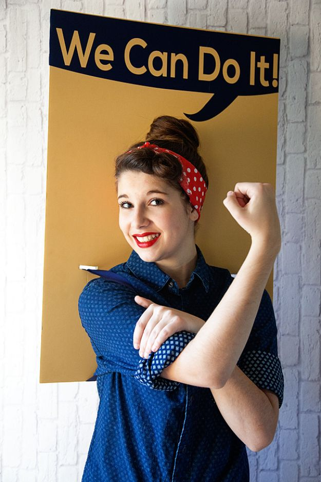 Teen Costume Ideas - Rosie the Riveter Costume - Easy Costumes for Halloween - Cheap DIY Costumes for Teens - Scary, Spooky, Ideas for Couples, Groups and Friends - Quick Last Minute Hallloween Costumes, Best Celebrity Ideas - Dolls, Zombies, Ghosts, Makeup Tutorials Teenagers Dress Up Idea- http://diyprojectsforteens.com/diy-teen-costume-deas