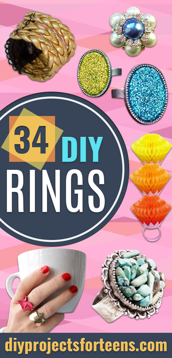 DIY Rings With Step by Step DYI Handmade Jewelry Tutorial- Easy Ring Tutorial for Wore, Paperclip, Stone Jewelry, Wood, Metal, Boho Ideas - Cheap Jewelry Making Ideas and Teen Gift Idea #diyjewelry #rings