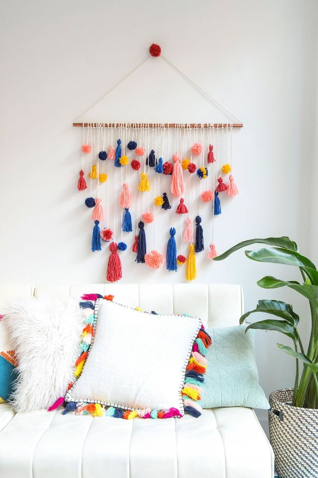 Cheap Wall Decor Ideas - Adorable Pom-Pom Tassel Wall Hanging - Cute and Easy Room Decor for Teens - Ideas for Teenager Bedroom Walls - Boys and Girls Room Canvas Wall Art and Decorating #teen #roomdecor #diydecor https://diyprojectsforteens.com/cheap-diy-wall-decor-ideas