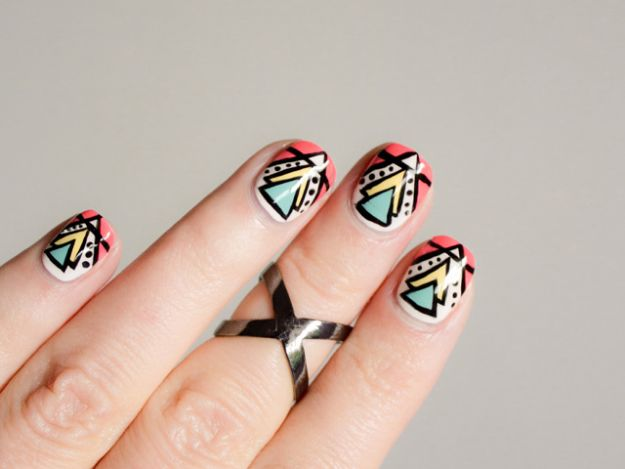 DIY Nail Art Ideas - Aztec Nail Art - Easy Step by Step Design Idea for Nails - How to Make Manicures at Home Simple - Paint and Polish Tips #nailart #naildesigns #nailart #diynails #diybeauty #naildesigns #teencrafts