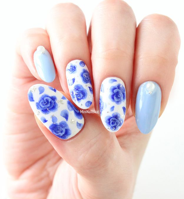 DIY Nail Art Ideas - Blue Rose Nail Art - Easy Step by Step Design Idea for Nails - How to Make Manicures at Home Simple - Paint and Polish Tips #nailart #naildesigns #nailart #diynails #diybeauty #naildesigns #teencrafts