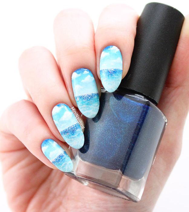 DIY Nail Art Ideas - Blue Sky Nail Art - Easy Step by Step Design Idea for Nails - How to Make Manicures at Home Simple - Paint and Polish Tips #nailart #naildesigns #nailart #diynails #diybeauty #naildesigns #teencrafts