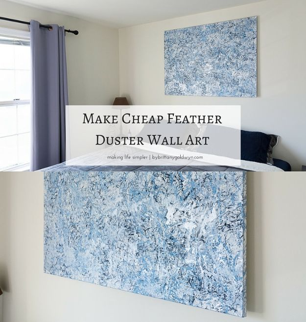 Cheap Wall Decor Ideas - Cheap Feather Duster Wall Art - Cute and Easy Room Decor for Teens - Ideas for Teenager Bedroom Walls - Boys and Girls Room Canvas Wall Art and Decorating #teen #roomdecor #diydecor