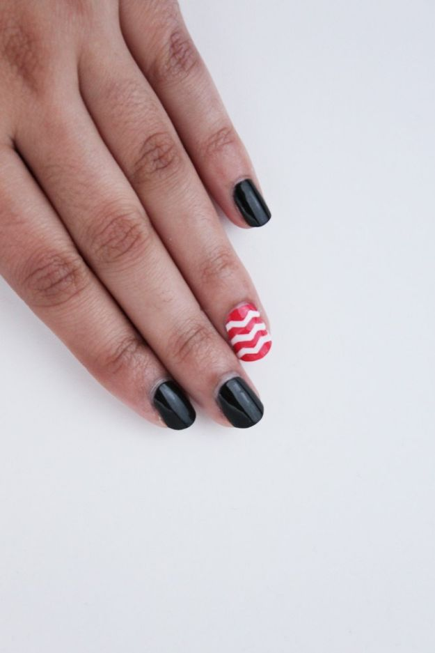 DIY Nail Art Ideas - Chevron Accent Nail Art - Easy Step by Step Design Idea for Nails - How to Make Manicures at Home Simple - Paint and Polish Tips #nailart #naildesigns #nailart #diynails #diybeauty #naildesigns #teencrafts