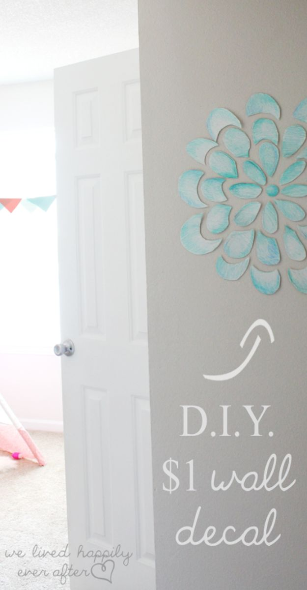 Cheap Wall Decor Ideas - DIY $1 Wall Decal - Cute and Easy Room Decor for Teens - Ideas for Teenager Bedroom Walls - Boys and Girls Room Canvas Wall Art and Decorating #teen #roomdecor #diydecor https://diyprojectsforteens.com/cheap-diy-wall-decor-ideas