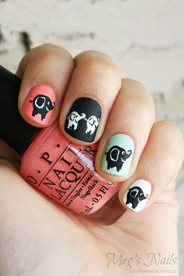 DIY Nail Art Ideas - DIY Elephant Nail Art - Easy Step by Step Design Idea for Nails - How to Make Manicures at Home Simple - Paint and Polish Tips #nailart #naildesigns #nailart #diynails #diybeauty #naildesigns #teencrafts