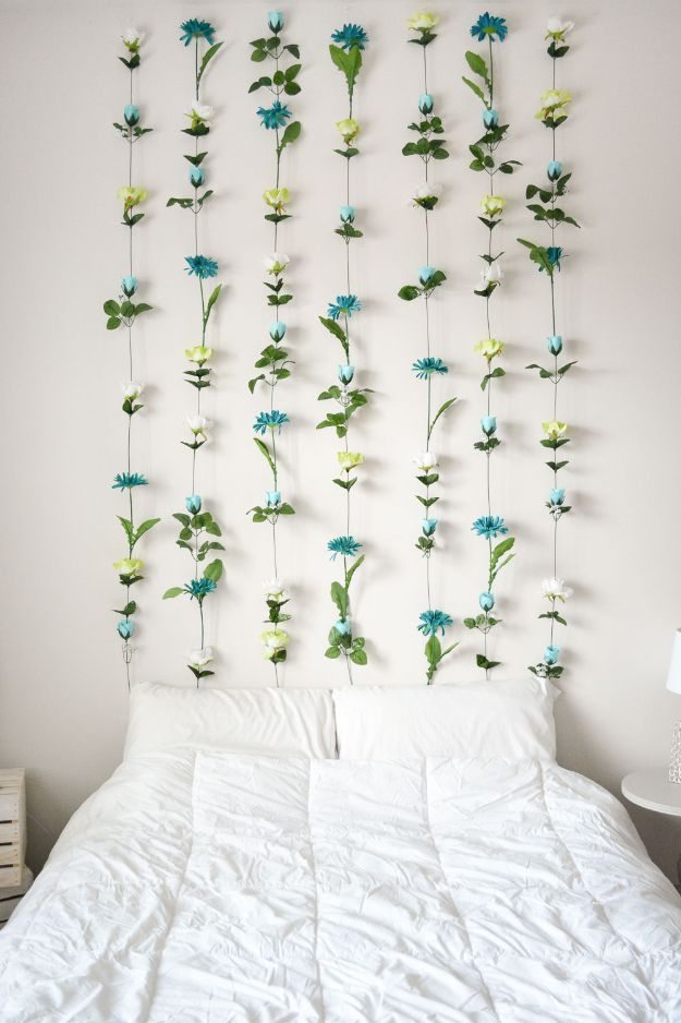 Cheap Wall Decor Ideas - DIY Flower Wall - Cute and Easy Room Decor for Teens - Ideas for Teenager Bedroom Walls - Boys and Girls Room Canvas Wall Art and Decorating #teen #roomdecor #diydecor