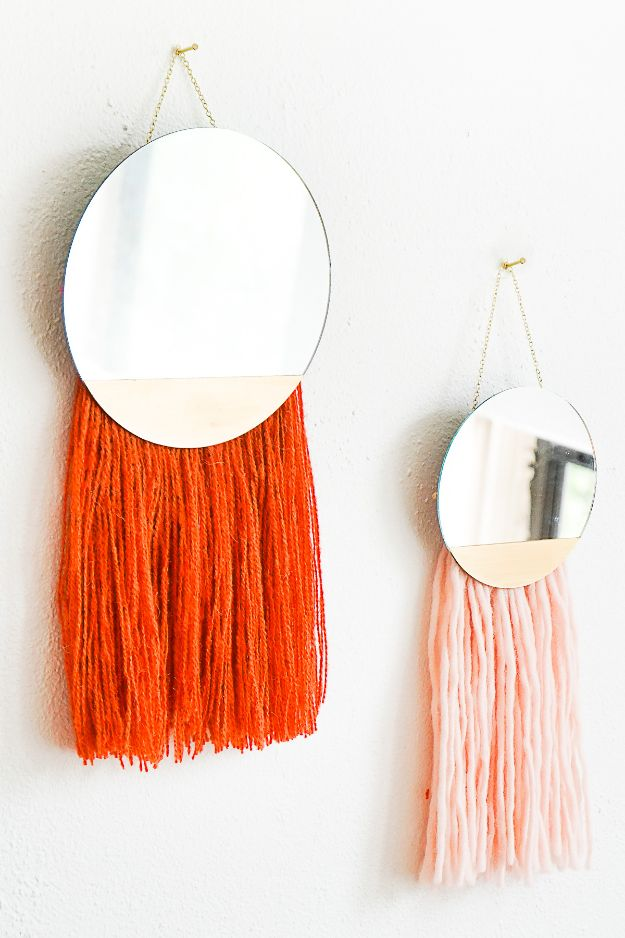 Cheap DIY Boho Wall Decor Ideas - DIY Fringed Mirror Wall Hanging - Cute and Easy Room Decor for Teens - Ideas for Teenager Bedroom Walls - Boys and Girls Room Canvas Wall Art and Decorating #teen #roomdecor #diydecor