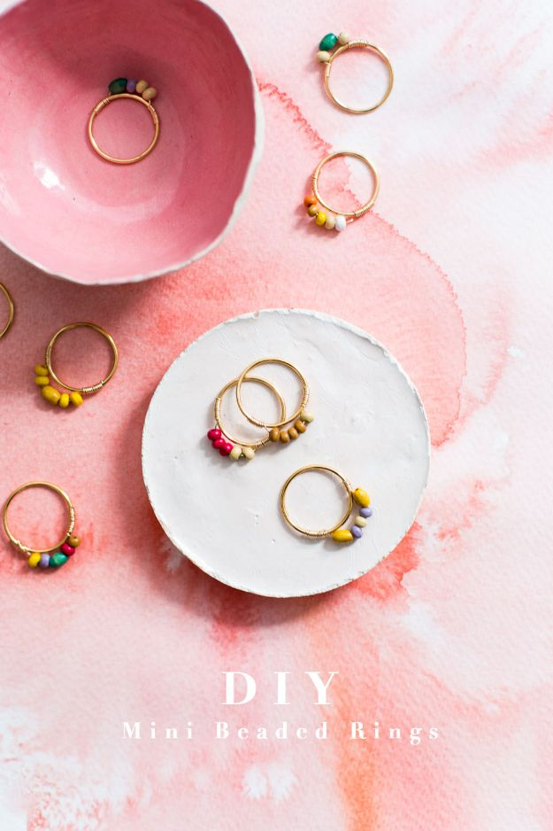 Creative DIY Rings - DIY Mini Beaded Rings - Easy Ring Tutorial for Wore, Paperclip, Stone Jewelry, Wood, Metal, Boho Ideas - Cheap Jewelry Making Ideas #diyjewelry #rings