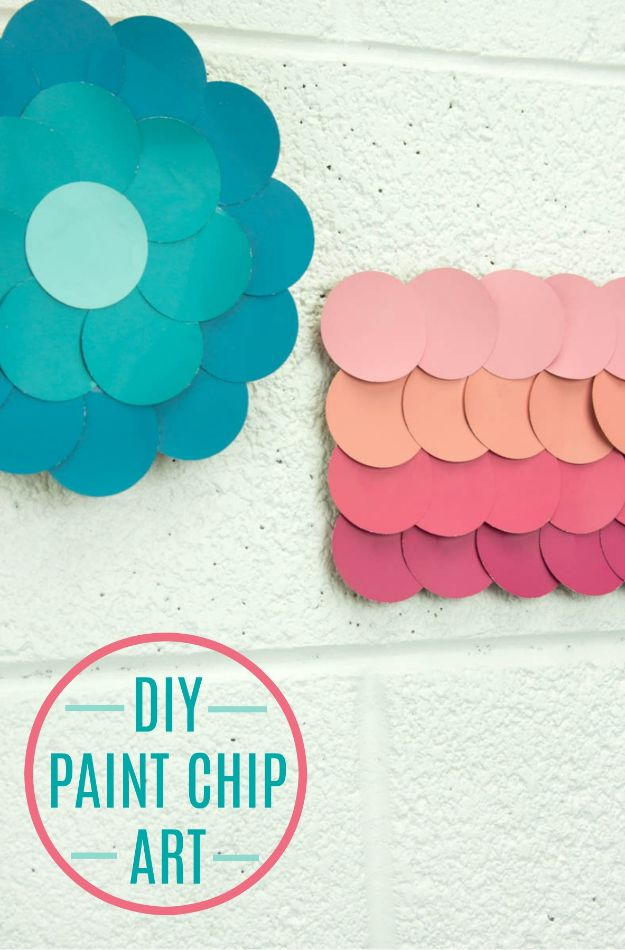 Cheap Wall Decor Ideas - DIY Paint Chip Wall Art - Cute and Easy Room Decor for Teens - Ideas for Teenager Bedroom Walls - Boys and Girls Room Canvas Wall Art and Decorating #teen #roomdecor #diydecor https://diyprojectsforteens.com/cheap-diy-wall-decor-ideas