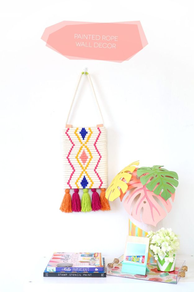 Cheap Wall Decor Ideas - DIY Painted Rope Wall Decor - Cute and Easy Room Decor for Teens - Ideas for Teenager Bedroom Walls - Boys and Girls Room Canvas Wall Art and Decorating #teen #roomdecor #diydecor https://diyprojectsforteens.com/cheap-diy-wall-decor-ideas