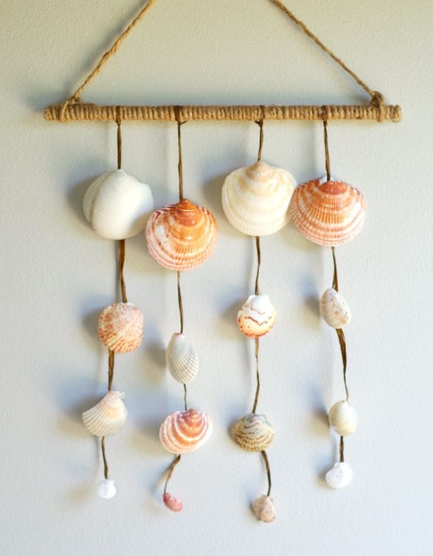 Cheap Wall Decor Ideas - DIY Seashell Wall Hanging - Cute and Easy Room Decor for Teens - Ideas for Teenager Bedroom Walls - Boys and Girls Room Canvas Wall Art and Decorating #teen #roomdecor #diydecor