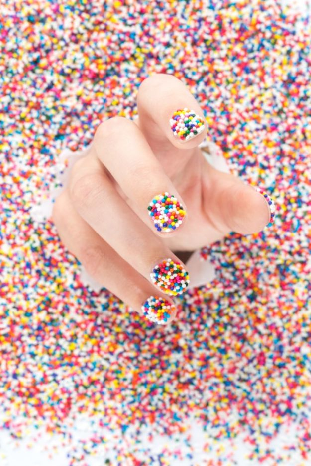 DIY Nail Art Ideas - DIY Sprinkle Nails - Easy Step by Step Design Idea for Nails - How to Make Manicures at Home Simple - Paint and Polish Tips #nailart #naildesigns #nailart #diynails #diybeauty #naildesigns #teencrafts