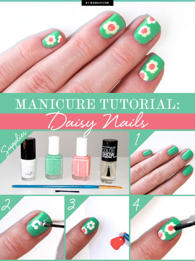 DIY Nail Art Ideas - Daisy Nails - Easy Step by Step Design Idea for Nails - How to Make Manicures at Home Simple - Paint and Polish Tips #nailart #naildesigns #nailart #diynails #diybeauty #naildesigns #teencrafts