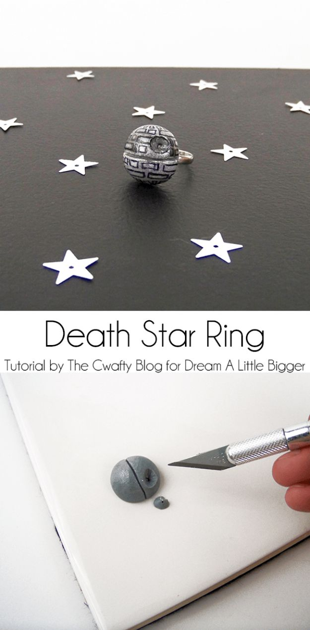 DIY Rings - Death Star Ring - Easy Ring Tutorial for Wore, Paperclip, Stone Jewelry, Wood, Metal, Boho Ideas - Cheap Jewelry Making Ideas #diyjewelry #rings