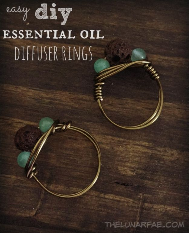 DIY Rings - Easy DIY Essential Oil Diffuser Rings - Easy Ring Tutorial for Wore, Paperclip, Stone Jewelry, Wood, Metal, Boho Ideas - Cheap Jewelry Making Ideas #diyjewelry #rings