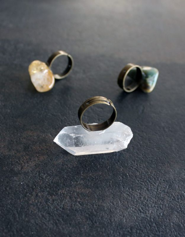 DIY Rings - Easy DIY Ring With Gems and Crystals - Easy Ring Tutorial for Wore, Paperclip, Stone Jewelry, Wood, Metal, Boho Ideas - Cheap Jewelry Making Ideas #diyjewelry #rings