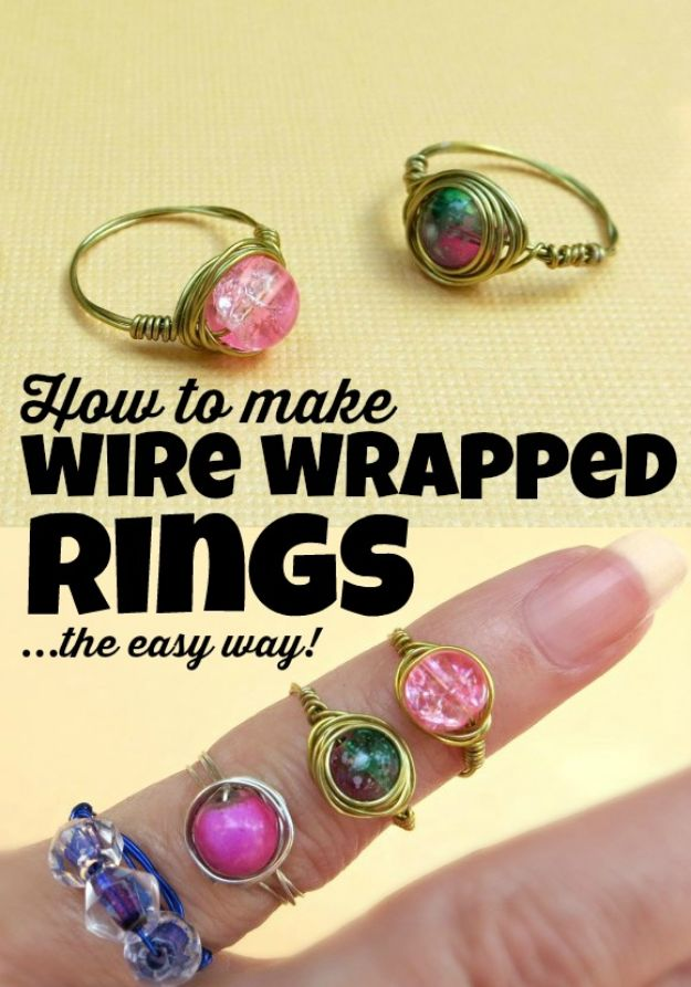 DIY Rings - Easy Wire Wrapped Bead Rings - Easy Ring Tutorial for Wore, Paperclip, Stone Jewelry, Wood, Metal, Boho Ideas - Cheap Jewelry Making Ideas #diyjewelry #rings
