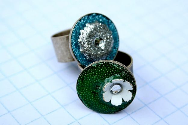 DIY Rings - Embellished Resin Rings - Easy Ring Tutorial for Wore, Paperclip, Stone Jewelry, Wood, Metal, Boho Ideas - Cheap Jewelry Making Ideas #diyjewelry #rings