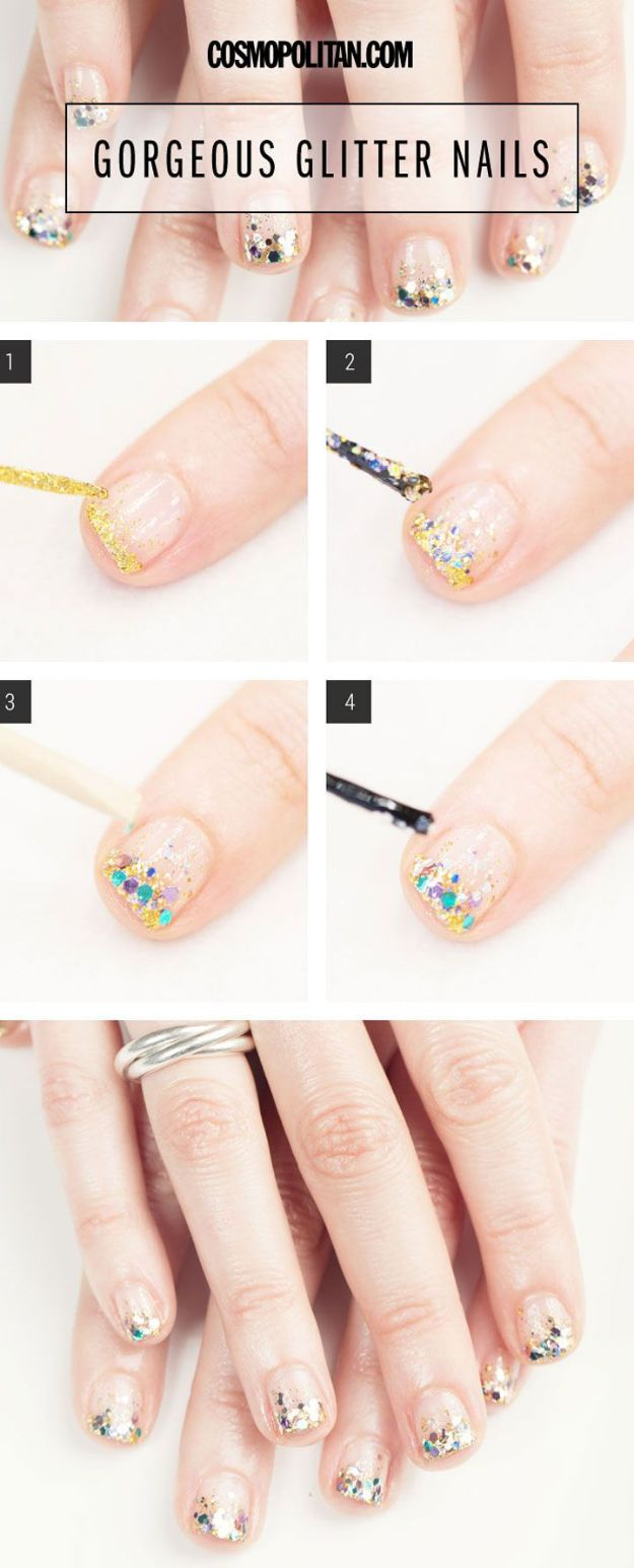 DIY Nail Art Ideas - Gorgeous Glitter Nail Art - Easy Step by Step Design Idea for Nails - How to Make Manicures at Home Simple - Paint and Polish Tips #nailart #naildesigns #nailart #diynails #diybeauty #naildesigns #teencrafts