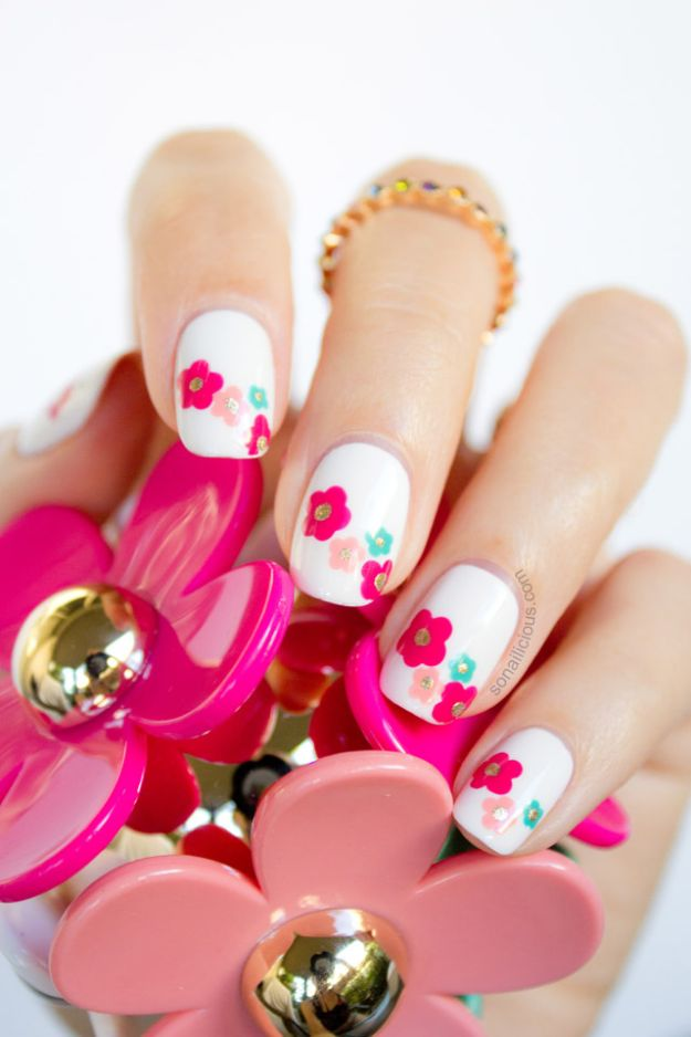 Cool Ways to Paint Nails -Marc Jacobs Daisy Delight Inspired - Spring DIY Nail Art Ideas - Marc Jacobs Daisy Delight Inspired Spring Nail Art - Easy Step by Step Design Idea for Nails - How to Make Manicures at Home Simple - Paint and Polish Tips #nailart #naildesigns #nailart #diynails #diybeauty #naildesigns #teencraftsNail Art
