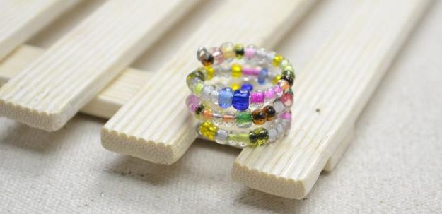 DIY Rings - Multi-Strand Ring with Colorful Seed Beads - Easy Ring Tutorial for Wore, Paperclip, Stone Jewelry, Wood, Metal, Boho Ideas - Cheap Jewelry Making Ideas #diyjewelry #rings