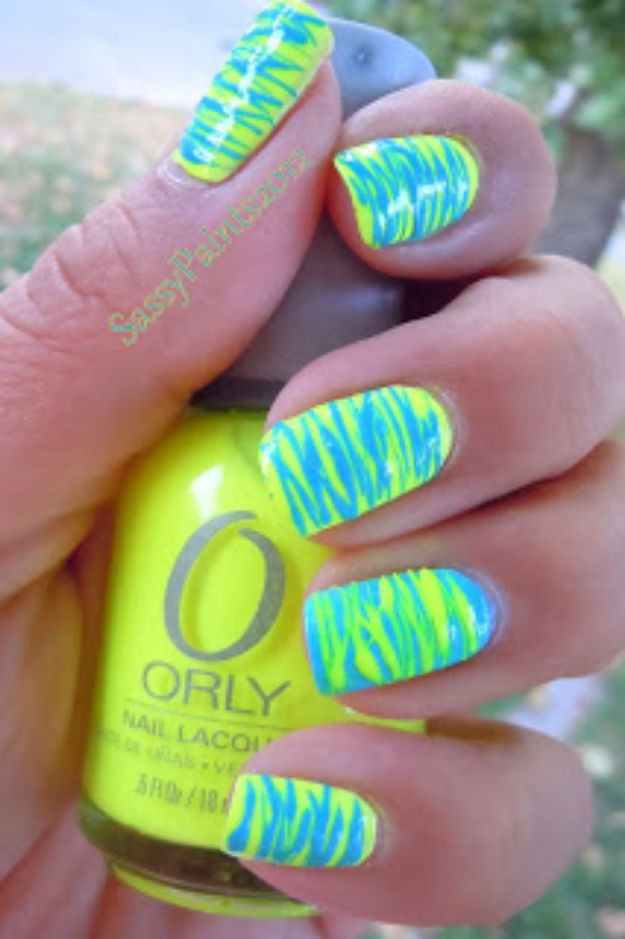 DIY Nail Art Ideas - Neon Spun Sugar - Easy Step by Step Design Idea for Nails - How to Make Manicures at Home Simple - Paint and Polish Tips #nailart #naildesigns #nailart #diynails #diybeauty #naildesigns #teencrafts