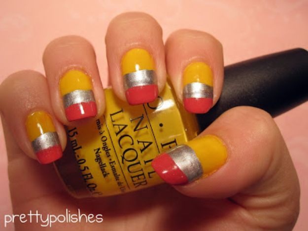 DIY Nail Art Ideas - Pencil Inspired Nail Art - Easy Step by Step Design Idea for Nails - How to Make Manicures at Home Simple - Paint and Polish Tips #nailart #naildesigns #nailart #diynails #diybeauty #naildesigns #teencrafts
