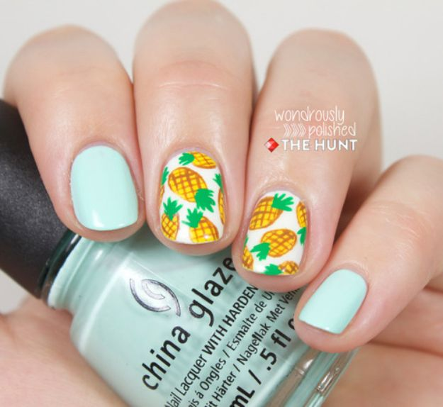 DIY Nail Art Ideas - Pineapple Print Nail Art Tutorial - Easy Step by Step Design Idea for Nails - How to Make Manicures at Home Simple - Paint and Polish Tips #nailart #naildesigns #nailart #diynails #diybeauty #naildesigns #teencrafts