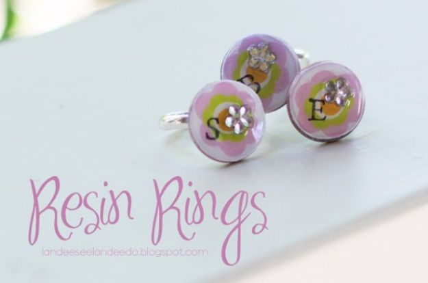 DIY Rings - Resin Rings - Easy Ring Tutorial for Wore, Paperclip, Stone Jewelry, Wood, Metal, Boho Ideas - Cheap Jewelry Making Ideas #diyjewelry #rings