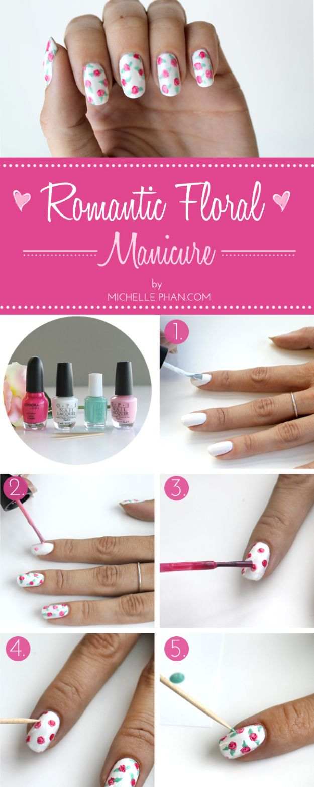 DIY Nail Art Ideas - Romantic Floral Mani DIY - Easy Step by Step Design Idea for Nails - How to Make Manicures at Home Simple - Paint and Polish Tips #nailart #naildesigns #nailart #diynails #diybeauty #naildesigns #teencrafts