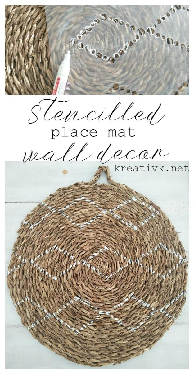 Cheap Wall Decor Ideas - Stencilled Place Mat turned into Wall Decor - Cute and Easy Room Decor for Teens - Ideas for Teenager Bedroom Walls - Boys and Girls Room Canvas Wall Art and Decorating #teen #roomdecor #diydecor https://diyprojectsforteens.com/cheap-diy-wall-decor-ideas