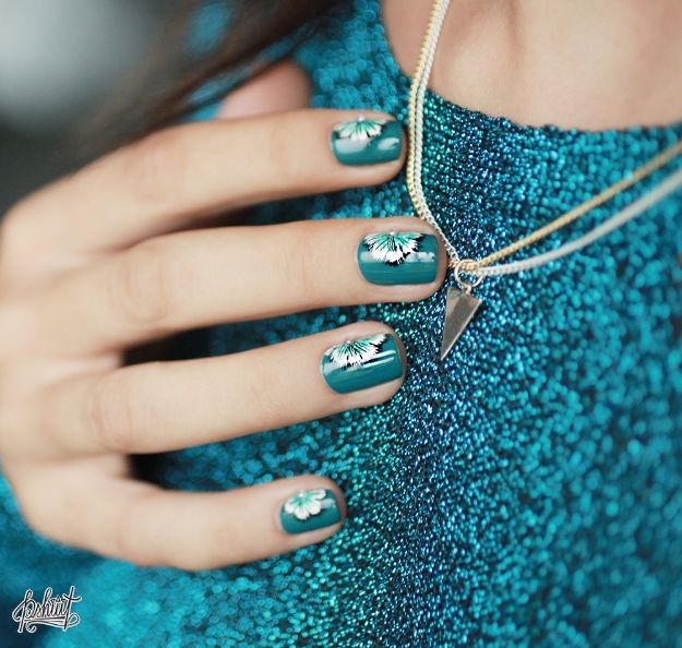 DIY Nail Art Ideas - Teal Flowers Nail Art - Easy Step by Step Design Idea for Nails - How to Make Manicures at Home Simple - Paint and Polish Tips #nailart #naildesigns #nailart #diynails #diybeauty #naildesigns #teencrafts