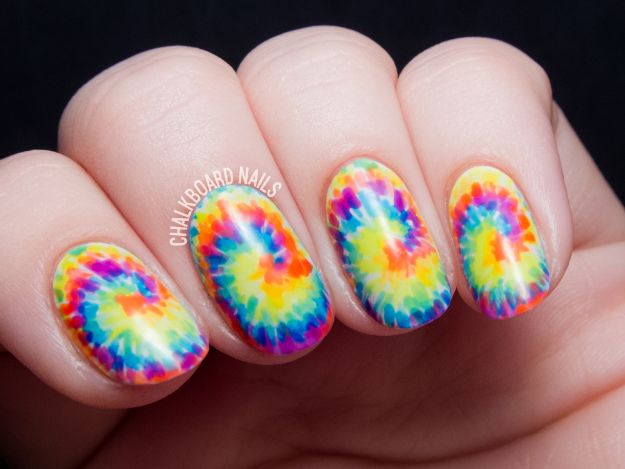 DIY Nail Art Ideas - Tie Dye Nail Art Tutorial - Easy Step by Step Design Idea for Nails - How to Make Manicures at Home Simple - Paint and Polish Tips #nailart #naildesigns #nailart #diynails #diybeauty #naildesigns #teencrafts