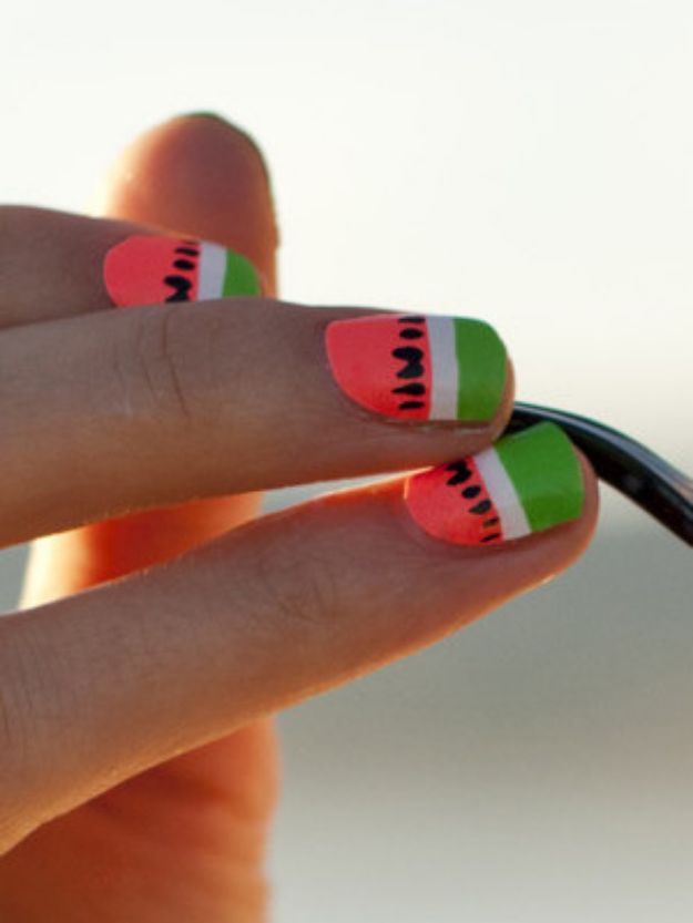 DIY Nail Art Ideas - Watermelon Nails - Easy Step by Step Design Idea for Nails - How to Make Manicures at Home Simple - Paint and Polish Tips #nailart #naildesigns #nailart #diynails #diybeauty #naildesigns #teencrafts