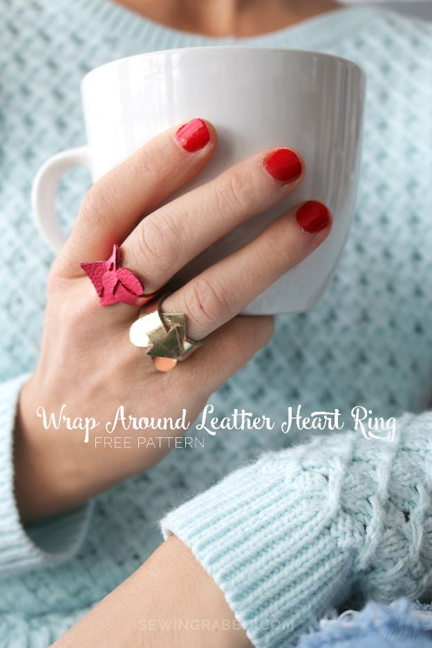 DIY Rings - Wrap Around Leather Heart Ring - Easy Ring Tutorial for Wore, Paperclip, Stone Jewelry, Wood, Metal, Boho Ideas - Cheap Jewelry Making Ideas #diyjewelry #rings