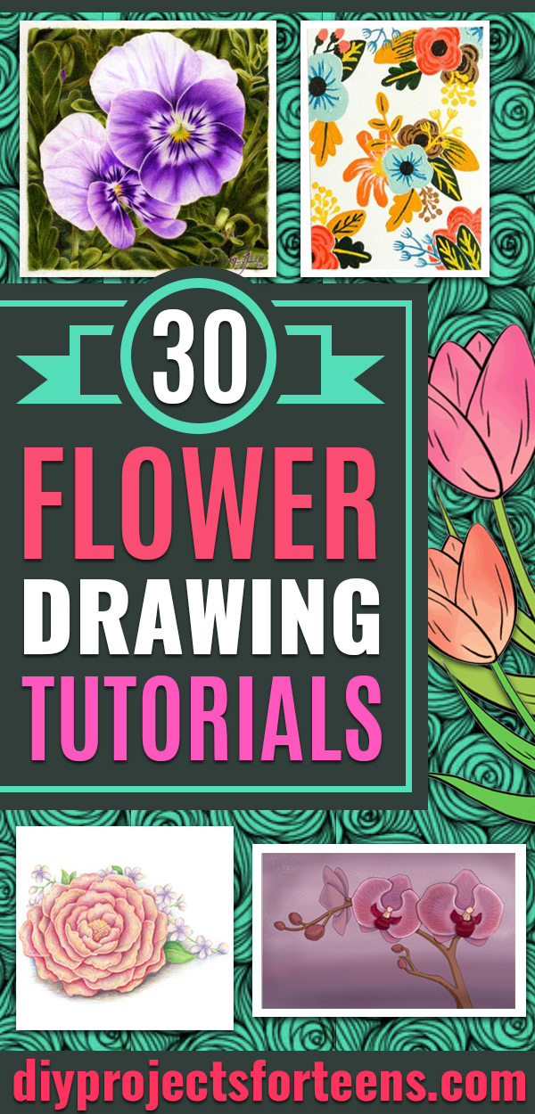 30 Flower Drawing Tutorials Diy Projects For Teens