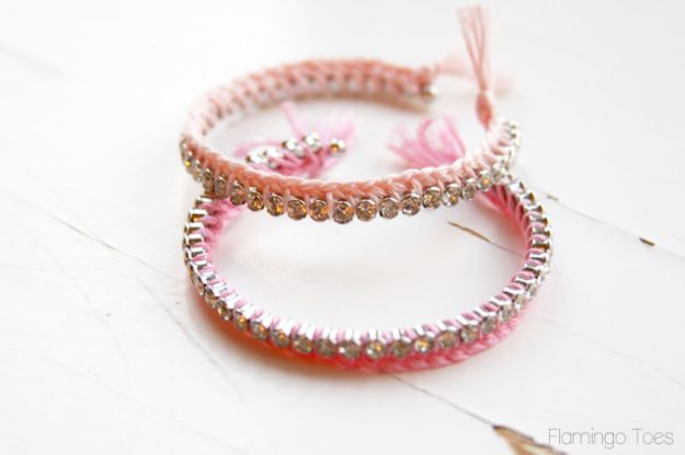 DIY Friendship Bracelets - Braided Thread and Rhinestone Bracelets DIY - Woven, Beaded, Leather and String - Cheap Embroidery Thread Ideas - DIY gifts for Teens