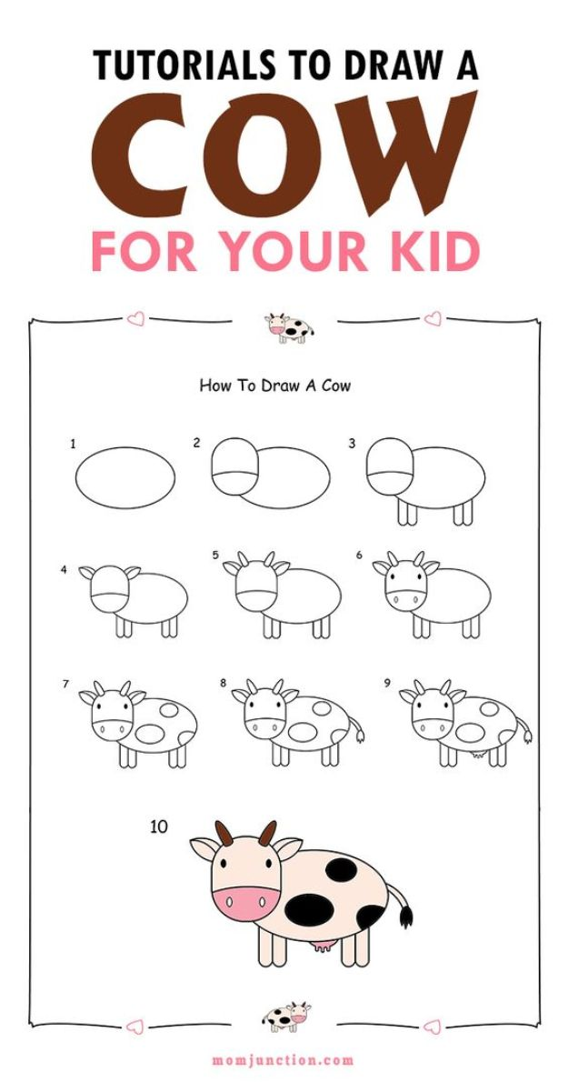 100 How To Draw Tutorials - Draw A Cow For Kids - Eyes, Hair, Face, Lips, People, Animals, Hands - Step by Step Drawing Tutorial for Beginners - Free Easy Lessons