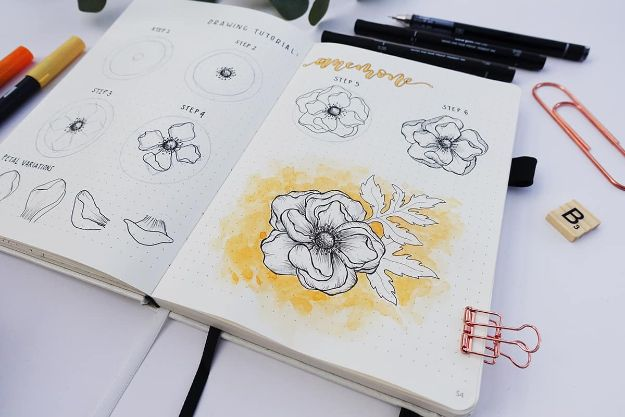 Flower Drawing Tutorials - Draw A Flower Anemone - Simple Tutorial for Easy Flower Doodles, Vintage Design Ideas for Flowers, Step by Step Pencil Drawings - How to Draw a Rose, Lily, Hibiscus, Daisy