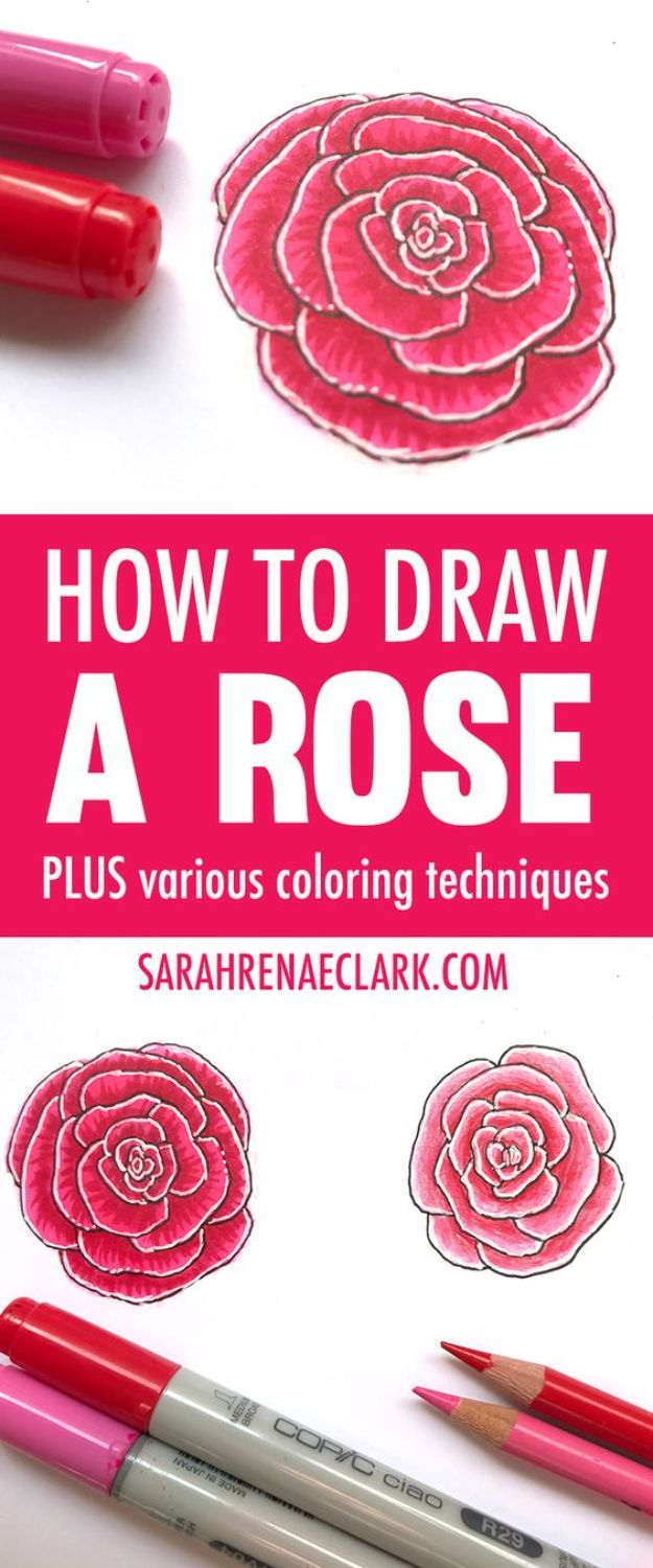 100 How To Draw Tutorials - Draw A Rose In Color - Eyes, Hair, Face, Lips, People, Animals, Hands - Step by Step Drawing Tutorial for Beginners - Free Easy Lessons