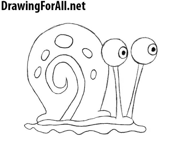 100 How To Draw Tutorials - Draw Gary the Snail from SpongeBob - Eyes, Hair, Face, Lips, People, Animals, Hands - Step by Step Drawing Tutorial for Beginners - Free Easy Lessons