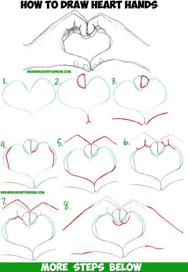 100 How To Draw Tutorials - Draw Heart Hands - Eyes, Hair, Face, Lips, People, Animals, Hands - Step by Step Drawing Tutorial for Beginners - Free Easy Lessons