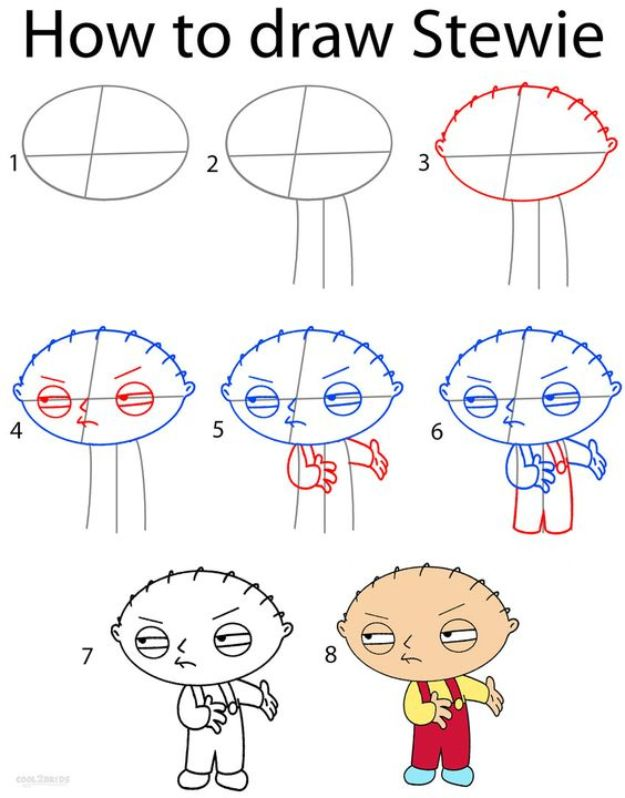 100 How To Draw Tutorials - Draw Stewie - Eyes, Hair, Face, Lips, People, Animals, Hands - Step by Step Drawing Tutorial for Beginners - Free Easy Lessons