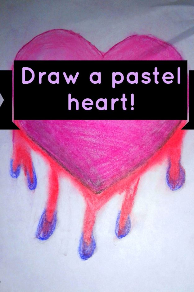 100 How To Draw Tutorials - Draw a Broken Bleeding Heart in Pastel - Eyes, Hair, Face, Lips, People, Animals, Hands - Step by Step Drawing Tutorial for Beginners - Free Easy Lessons
