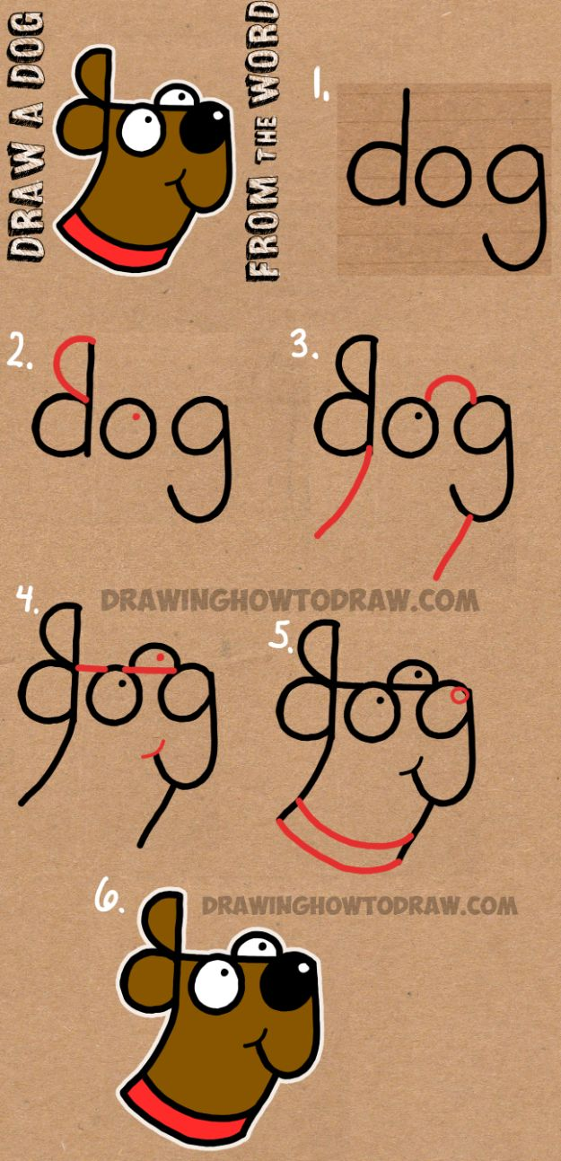 How to Draw Dogs - Draw a Dog from The Word Dog - Easy Step by Step Drawing Tutorial - Learn How To Draw A Dog and Cute Puppies - Cartoon and Realistic Animals