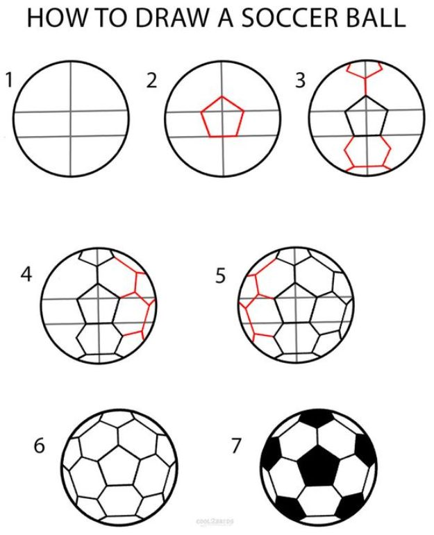 100 How To Draw Tutorials - Draw a Soccer Ball - Eyes, Hair, Face, Lips, People, Animals, Hands - Step by Step Drawing Tutorial for Beginners - Free Easy Lessons