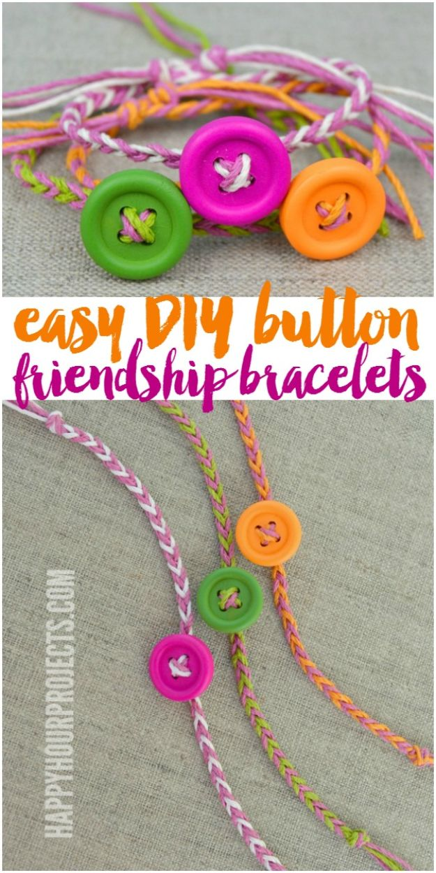 DIY Friendship Bracelets - Easy DIY Button Friendship Bracelets - Woven, Beaded, Leather and String - Cheap Embroidery Thread Ideas - DIY gifts for Teens